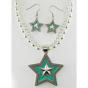 Western Edge Crystal Double Star Earrings And Necklace Set