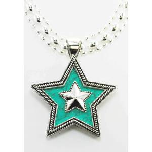 Western Edge Crystal Double Star  Necklace