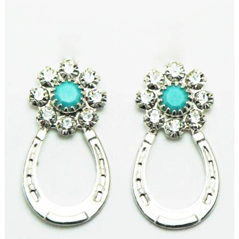 Western Edge Crystal Flower Horseshoe Earrings