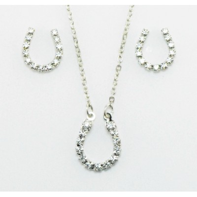 Western Edge Crystal Rhinestone Horseshoe Earrings And Necklace Set