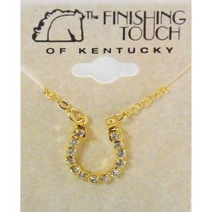 Western Edge Crystal Rhinestones Horseshoe Necklace