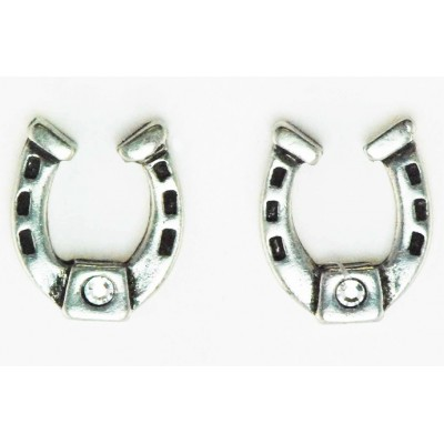 Western Edge Crystal Stone Horseshoe Post Earrings