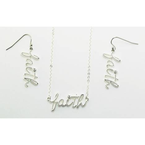 Western Edge Faith Crystal Rope Earrings And Necklace Set