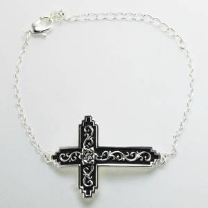 Western Edge Filigree Cross Crystal Bracelet
