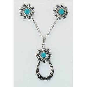 Western Edge Flower Crystal Stones Horseshoe Earrings And Necklace Set