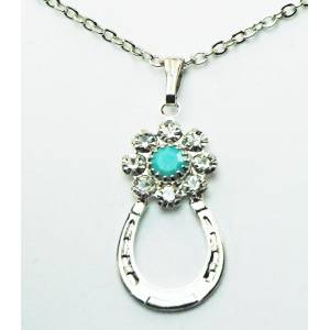 Western Edge Flower Crystal Stones Horseshoe Necklace