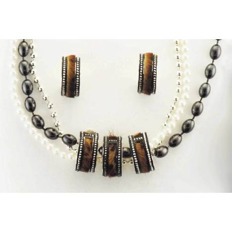 Western Edge Hair On Beaded Multi Strand Earrings And Necklace Set