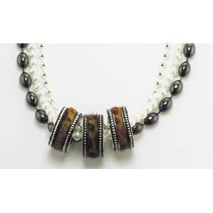Western Edge Hair-On Multi Strand Triple Ring Necklace