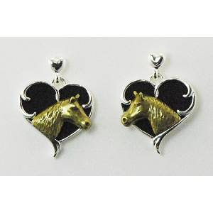 Western Edge Heart Horsehead Earrings
