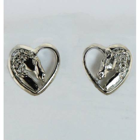 Western Edge Horsehead In Heart Earrings