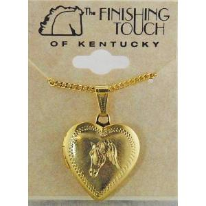 Western Edge Horsehead In Heart Necklace