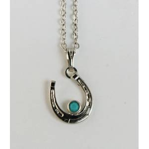 Western Edge Horseshoe Necklace With Stone