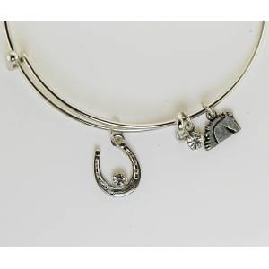 Western Edge Horseshoe with Crystal Stones Wire Bangle Bracelet