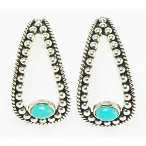 Western Edge Imitation Stone Beaded Oval Earrings