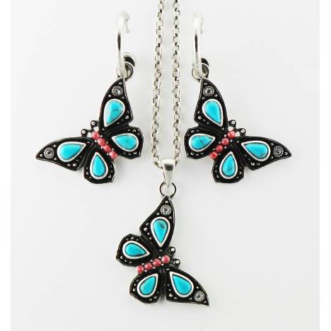 Western Edge Imitation Stone Butterfly Dangle Earring And Necklace Set