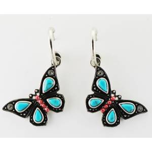 Western Edge Imitation Stone Butterfly Dangle Earrings