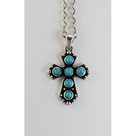 Western Edge Imitation Stone Cross Necklace