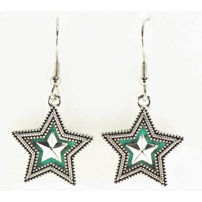 Western Edge Imitation Stone Crystal Star Dangle Earrings