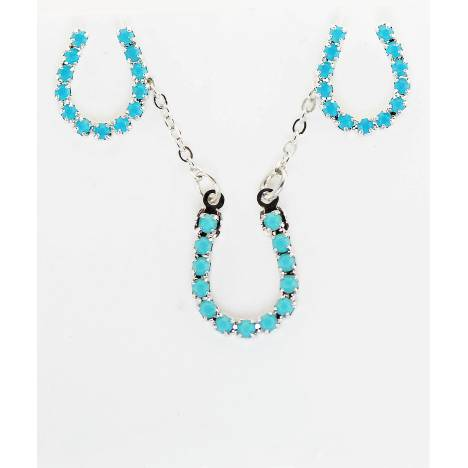 Western Edge Imitation Stones Horseshoe Earrings and Necklace Set