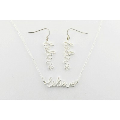 Western Edge Jewelry Set, Believe Crystal Rope Earrings And Necklace Set