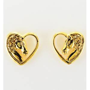 Western Edge Profile Horsehead In Heart Earrings
