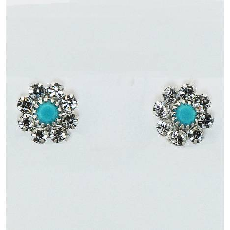 Western Edge Stone Flower Stud Earrings