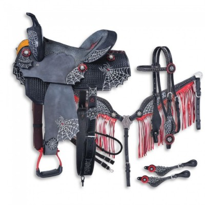 Tough-1 Black Widow Collection 5 Piece Saddle Package
