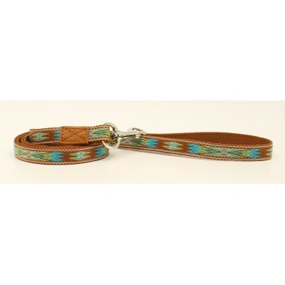 DBL Barrel Woven Ribbon Dog Leash - Brown/Turquoise