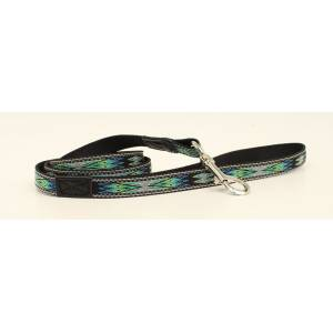 DBL Barrel Woven Ribbon Dog Leash - Black/Teal