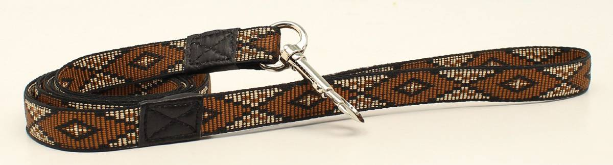 DBL Barrel Woven Ribbon Long Diamond Dog Leash - Brown
