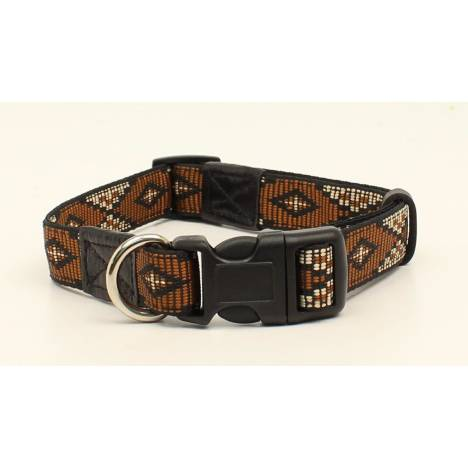 "DBL Barrel 3/4"" Woven Ribbon Long Diamond Dog Collar - Brown"