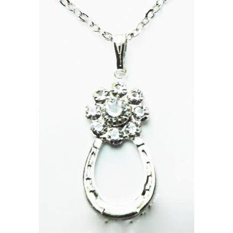 Finishing Touch Crystal Flower with Horse Shoe Necklace