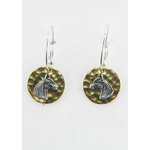 Finishing Touch Arabian Horse On Hammered Disc French Wire Earrings