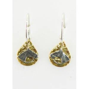 Finishing Touch Textured Teardrop Horse Head With Reins French Wire Earrings