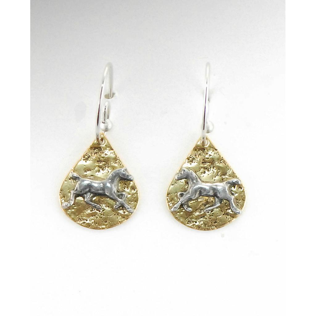Finishing Touch Trotting Horse On Textured Teardrop French Wire Earrings
