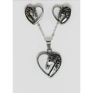 Finishing Touch Horse Head In Heart Earrings/Neck Gift Set