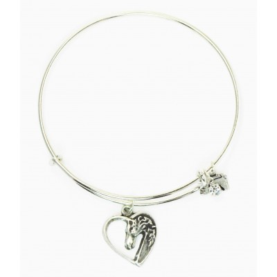 Finishing Touch Horse Head In Heart Plain Wire Adjustable Bangle