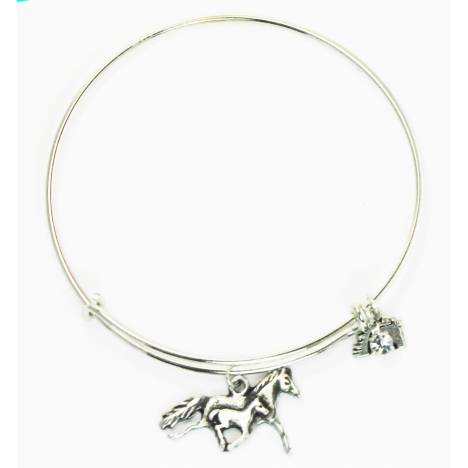 Finishing Touch Mom & Babe Horse Plain Wire Adjustable Bangle