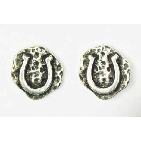 Finishing Touch Horse Shoe On Hammered Background Earrings