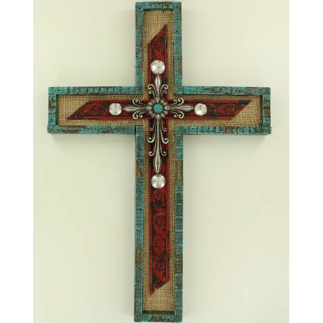 Burlap And Stone Cross Wall Hanging