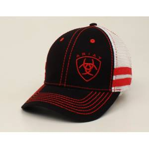 Ariat Shield Text Logo Offset Stripe Ball Cap - Mens