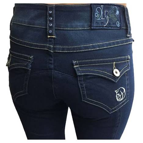 2kGrey Knee Patch Denim Breeches - Ladies
