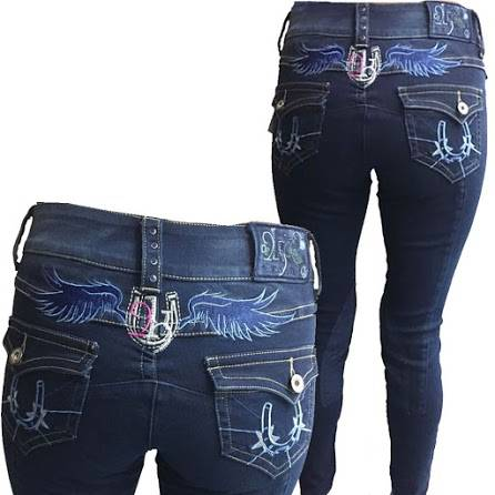 2kGrey Horse Shoes Knee Patch Breeches Ladies