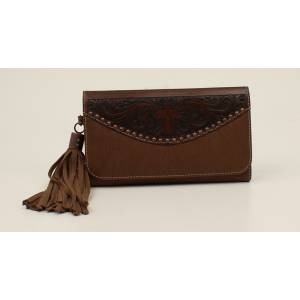 Nocona Amelia Cross Tooled Fringed Clutch