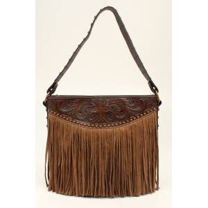 Nocona Amelia Cross Tooled Fringed Tote