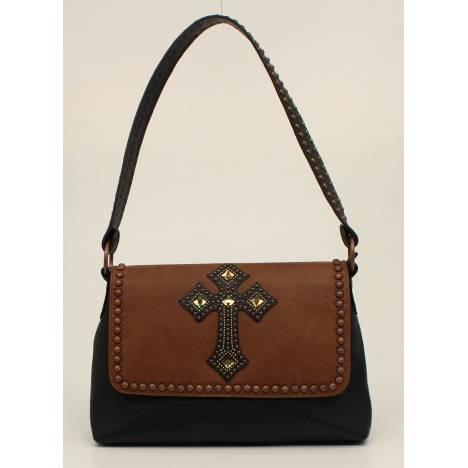 Nocona Delilah Flap Over Nailhead And Cross Shoulder Purse