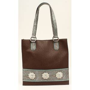 Nocona Myra Embossed Fringe And Concho Tote