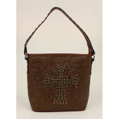 Nocona Nina Embossed Nailhead Studded Cross Shoulder Bag