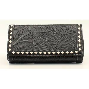 Nocona Nora Floral Embossed Stitched Flapover Zip Wallet