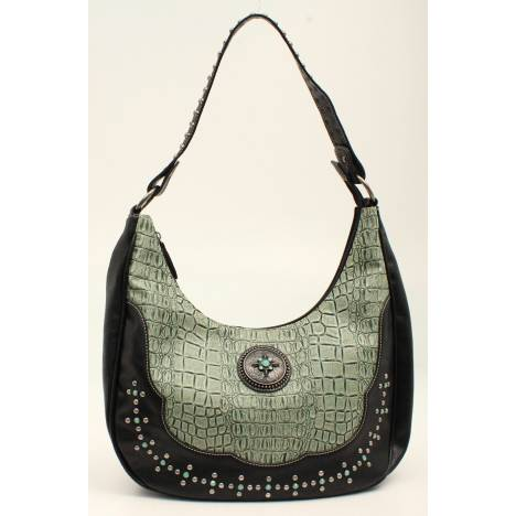 Nocona Desiree Croc And Concho Bling Hobo Bag